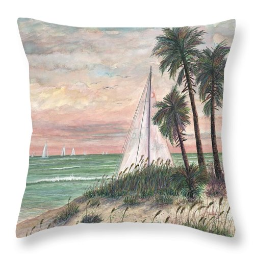 Sailboats; Palm Trees; Ocean; Beach; Sunset Throw Pillow featuring the painting Hideaway by Ben Kiger