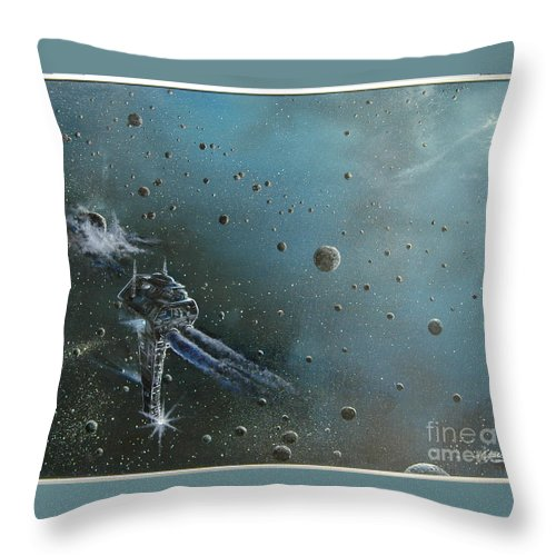 Astro Throw Pillow featuring the painting Hiding In The Field by Murphy Elliott