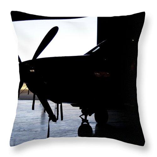 Pilatus Pc12 Golden Eagle Throw Pillow featuring the photograph Hiding by Paul Job
