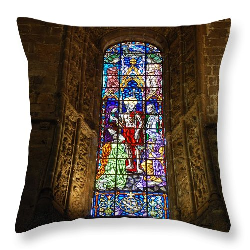 Windowpane Throw Pillow featuring the photograph Hieronymites Monastery Chapel Vitral In Lisbon by Luis Alvarenga