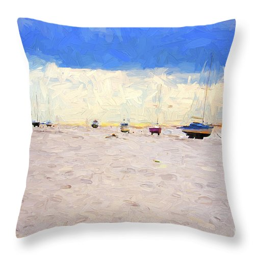 Yachts Throw Pillow featuring the photograph High and dry by Sheila Smart Fine Art Photography