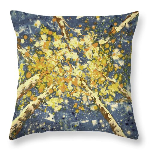 Aspen Trees Throw Pillow featuring the painting High - Aspens by Gina De Gorna