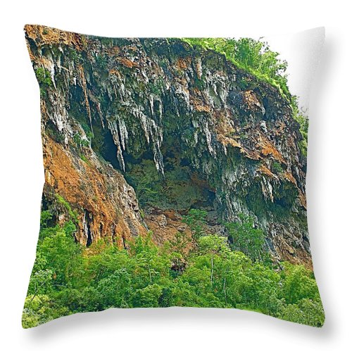 High Cliffs Along River Kwai In Kanchanaburi Throw Pillow featuring the photograph High Cliffs Along River Kwai In Kanchanaburi-thailand by Ruth Hager