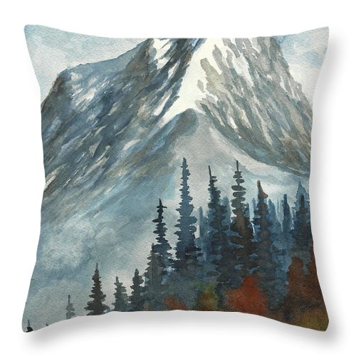 Mountain Throw Pillow featuring the painting High Country by David G Paul