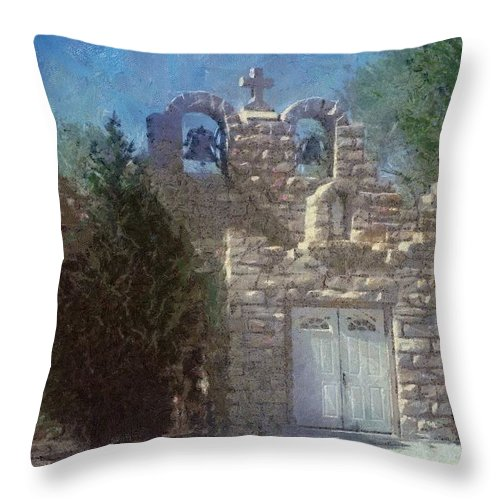 Architecture Throw Pillow featuring the painting High Desert Church by Jeffrey Kolker