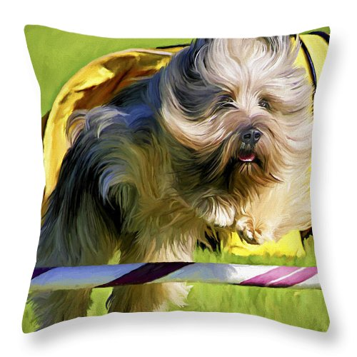 Silky Terrier Throw Pillow featuring the painting High Flier by David Wagner