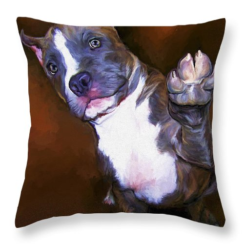 Pit Bull Throw Pillow featuring the painting High Four by David Wagner
