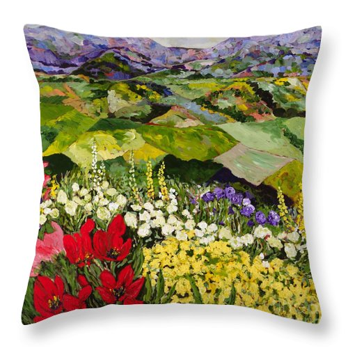 Landscape Throw Pillow featuring the painting High Mountain Patch by Allan P Friedlander