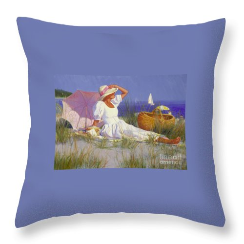 Impressionist Throw Pillow featuring the painting High On A Dune by Candace Lovely