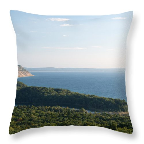 Sleeping Bear Throw Pillow featuring the photograph High On The Dunes by Linda Kerkau