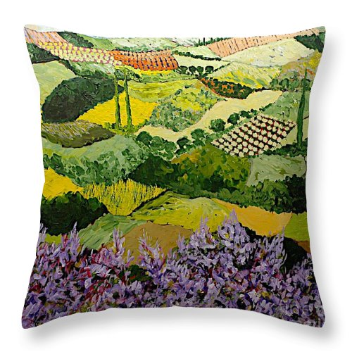Landscape Throw Pillow featuring the painting High Ridge by Allan P Friedlander
