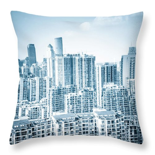 Residential District Throw Pillow featuring the photograph High Rise Residential Area by Aaaaimages