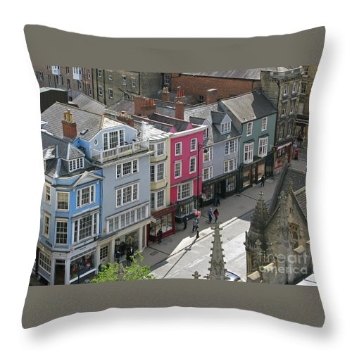 Oxford Throw Pillow featuring the photograph High Street by Ann Horn