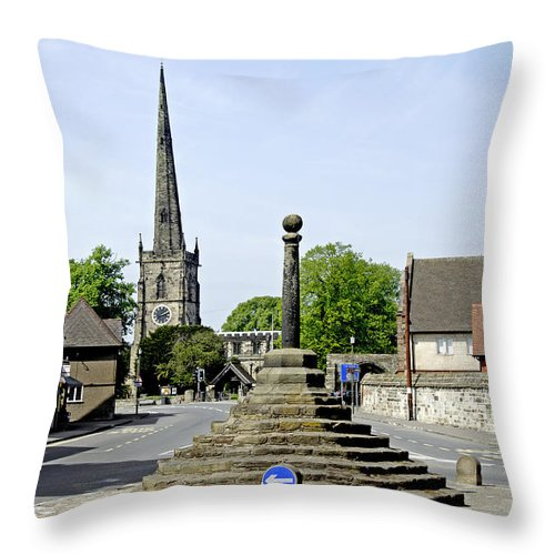 Derbyshire Throw Pillow featuring the photograph High Street To Willington Road - Repton by Rod Johnson