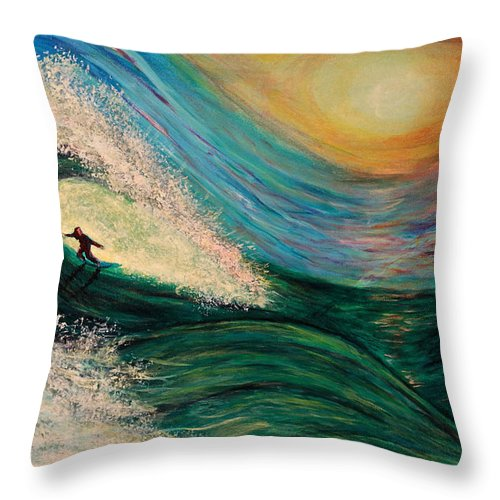 'phoenix Throw Pillow featuring the painting High Surf by Phoenix The Moody Artist