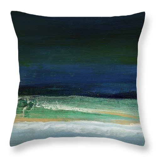 Ocean Throw Pillow featuring the painting High Tide- Abstract Beachscape Painting by Linda Woods