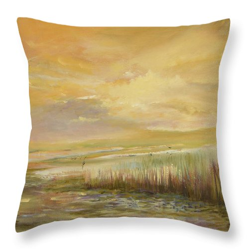 Original Oil Throw Pillow featuring the painting High Tide by Julianne Felton