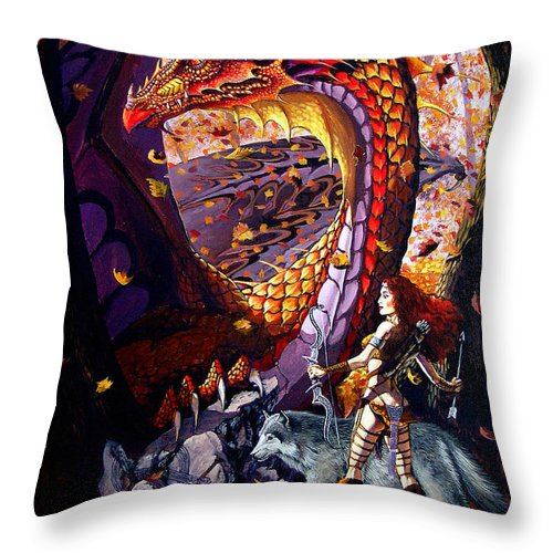 Dragon Throw Pillow featuring the painting Highland Huntress by Stanley Morrison
