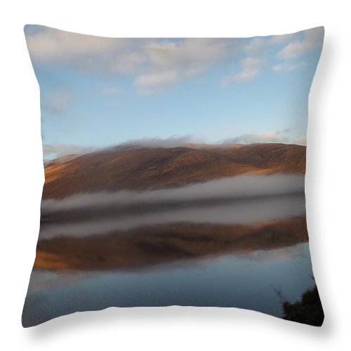 Reflection Throw Pillow featuring the photograph Highland Mists On Water by James Potts
