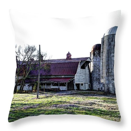 Hdr Throw Pillow featuring the photograph Highway 11 Barn by Paul Mashburn