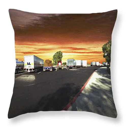 Highway Throw Pillow featuring the photograph Highway Truck Stop Sunset Panorama by David Zanzinger