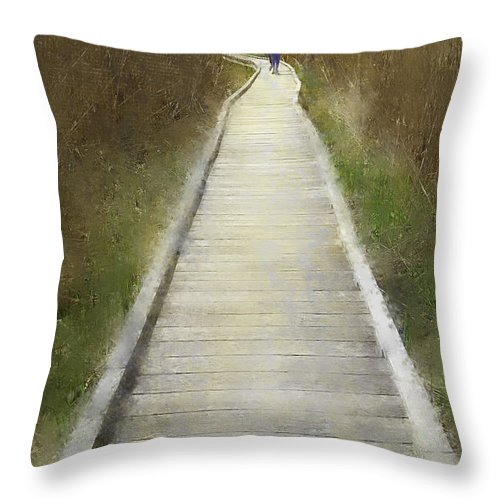 Trail Throw Pillow featuring the photograph Hikers On Appalachian Trail by Fran Gallogly