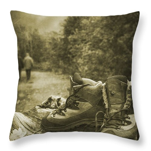 Hiking Throw Pillow featuring the photograph Hiking Boots by Amanda Elwell