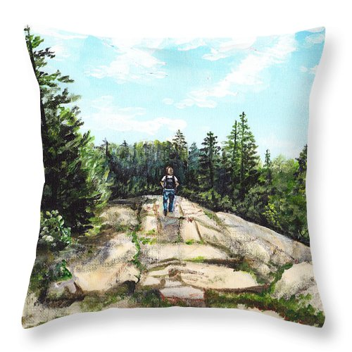 Acadia Throw Pillow featuring the painting Hiking In Maine by Shana Rowe Jackson