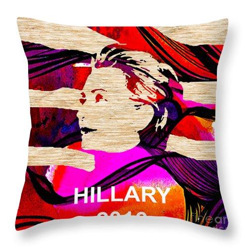 Hillary Clinton Paintings Mixed Media Throw Pillow featuring the mixed media Hillary Clinton 2016 by Marvin Blaine