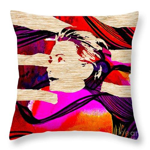Hillary Clinton Paintings Mixed Media Throw Pillow featuring the mixed media Hillary Clinton by Marvin Blaine