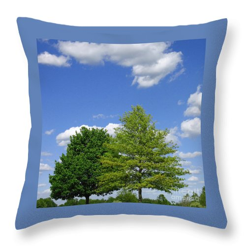 Trees Throw Pillow featuring the photograph Hilltop Trees by Ann Horn