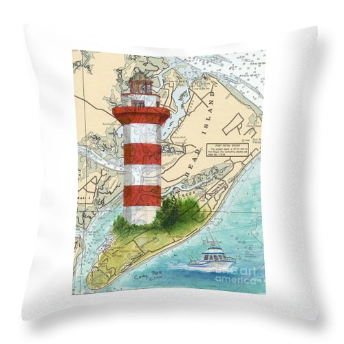 Hilton Throw Pillow featuring the painting Hilton Head Island Lighthouse Sc Nautical Chart Map Art Cathy Peek by Cathy Peek
