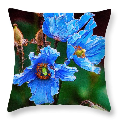 Beautiful Throw Pillow featuring the painting Himalayan Blue Poppy Flower by Jeelan Clark