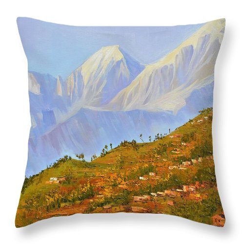 Himalaya Throw Pillow featuring the painting Himalayan View From Nagarkot by Yinguo Huang