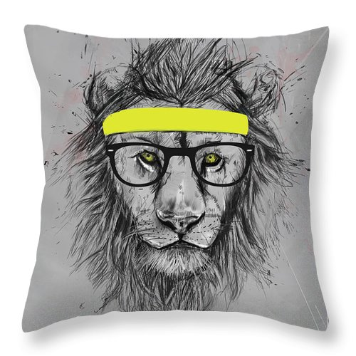 Lion Throw Pillow featuring the drawing Hipster lion by Balazs Solti