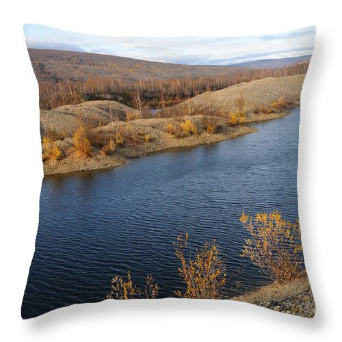 Alaska Throw Pillow featuring the photograph Historic Alaska Gold Dredge In Fall by Gary Whitton