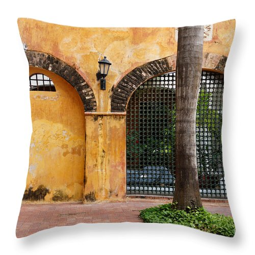 Arch Throw Pillow featuring the photograph Historic Colonial Courtyard In Colombia by Jannis Werner