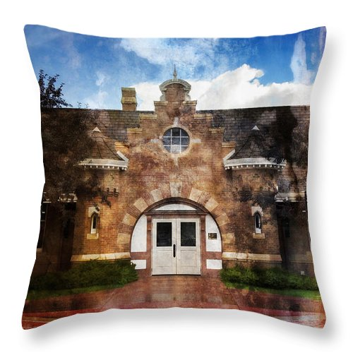 Architecture Throw Pillow featuring the photograph Historic Depot Evanston Wyoming by Donna Greene