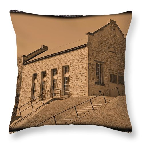 Dam Throw Pillow featuring the photograph Historic Power Sepia by Bonfire Photography