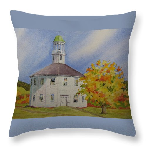 Richmond Throw Pillow featuring the painting Historic Richmond Round Church by Mary Ellen Mueller Legault
