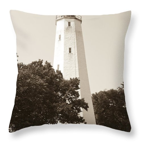 Lighthouses Throw Pillow featuring the photograph Historic Sandy Hook Lighthouse by Anthony Sacco
