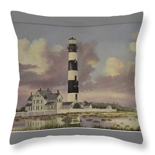 Lighthouse Throw Pillow featuring the painting History Of Morris Lighthouse by Wanda Dansereau