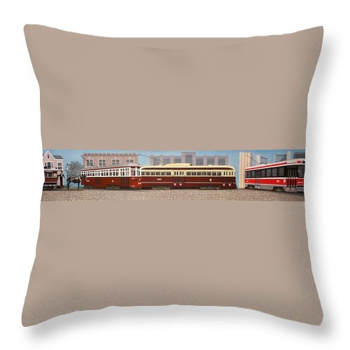 Streetscapes Throw Pillow featuring the painting History Of The Toronto Streetcar by Kenneth M Kirsch