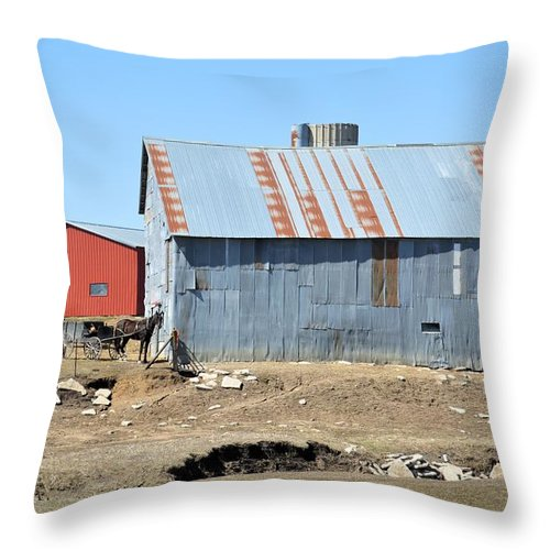 Amish Throw Pillow featuring the photograph Hitching The Wagon by Bonfire Photography