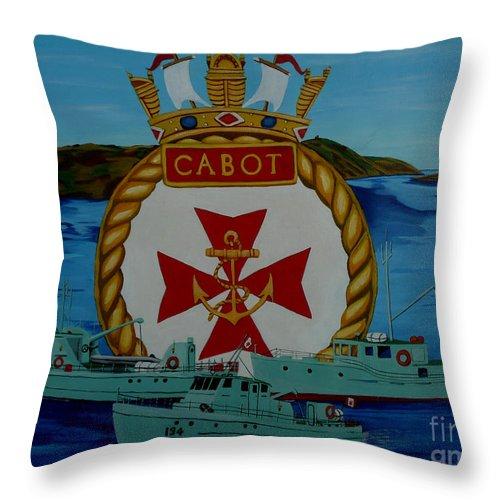 Hmcs Throw Pillow featuring the painting Hmcs Cabot Unit Tenders by Anthony Dunphy