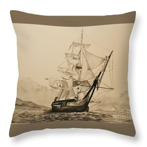Hms Surprise Throw Pillow featuring the drawing Hms Surprise by John Huntsman