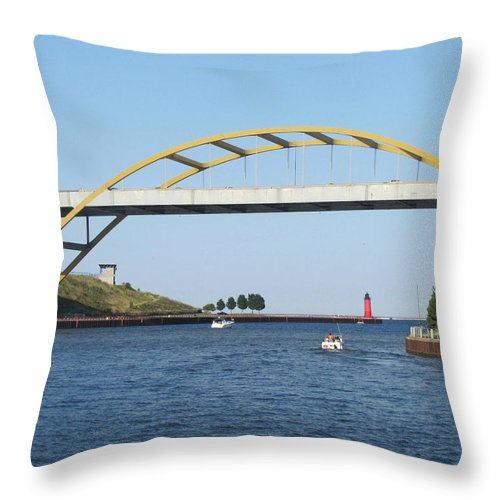 Hoan Bridge Throw Pillow featuring the photograph Hoan Bridge Boats Light House 1 by Anita Burgermeister