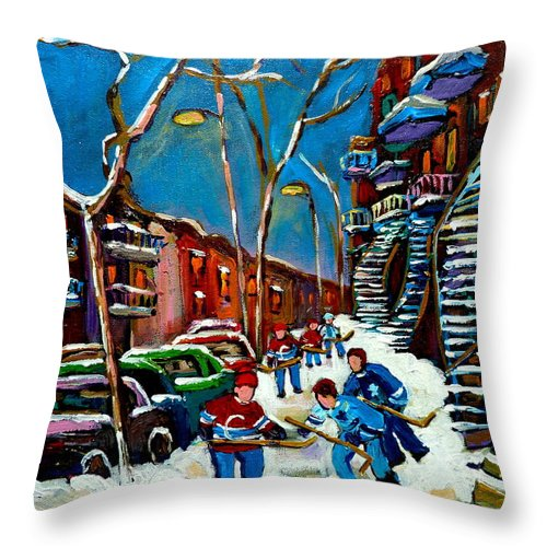 Winter Throw Pillow featuring the painting Hockey Game On De Bullion Montreal City Scene by Carole Spandau