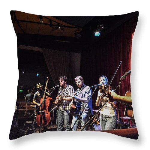 Hogmaw/miz Throw Pillow featuring the photograph Hogmaw Band by Wanda J King