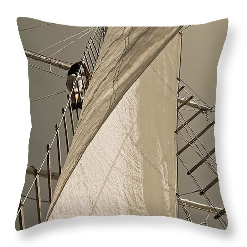 Schooner Throw Pillow featuring the photograph Hoisting The Mainsail In Sepia by Jani Freimann